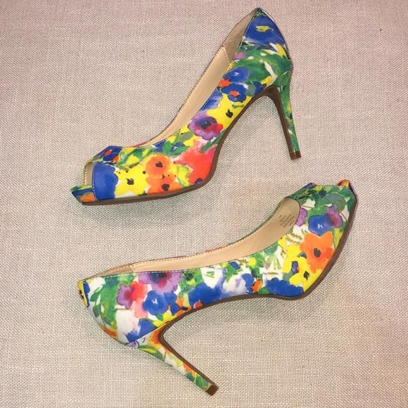 Floral Peeptoe Pumps Heels